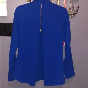 Blue zipper back blazer
